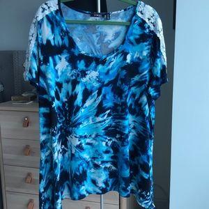 ELEMENTZ Women's Scoop Neck 3X Plus Size Print Top